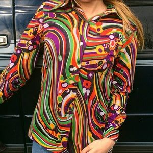 Vintage 1970s Psychedelic Disco Shirt